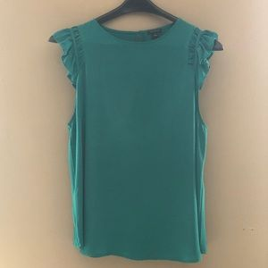Sleeveless silk blouse emerald green